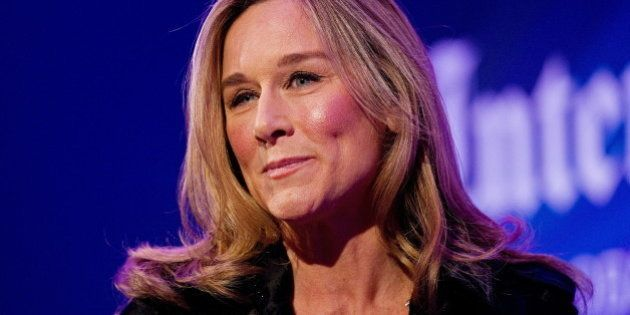 Chief Executive Officer (CEO), of Burberry, Angela Ahrendts, addresses delegates during a 'Heritage Luxury'...