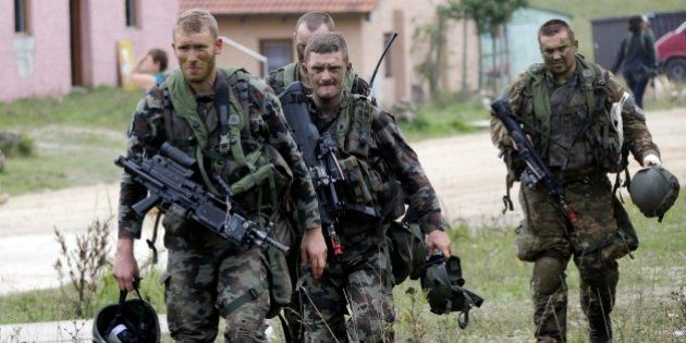 Soldiers from NATO countries take part in an exercise