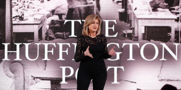 NEW YORK, NY - APRIL 28: Co-founder and editor-in-chief of The Huffington Post Arianna Huffington speaks...