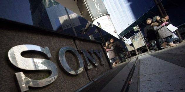 The logo of Sony is displayed outside the Sony building at Ginza shopping district in Tokyo, Thursday,...