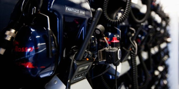 NORTHAMPTON, UNITED KINGDOM - JULY 09: Scuderia Toro Rosso radio headsets are seen during practice for...