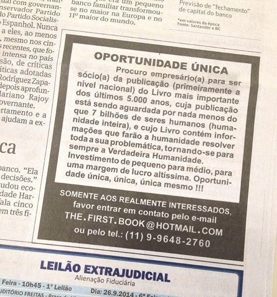 Quem é o autor do anúncio enigmático na Folha de
