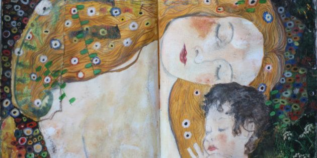 I love this detail from Klimt's 'Ages of Women' I used clippings from magazines to provide some of the...