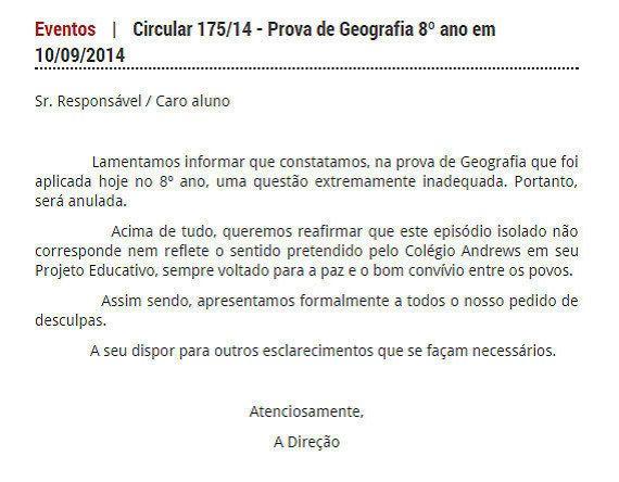 Professor perde o emprego em colégio do Rio após formular a seguinte pergunta: