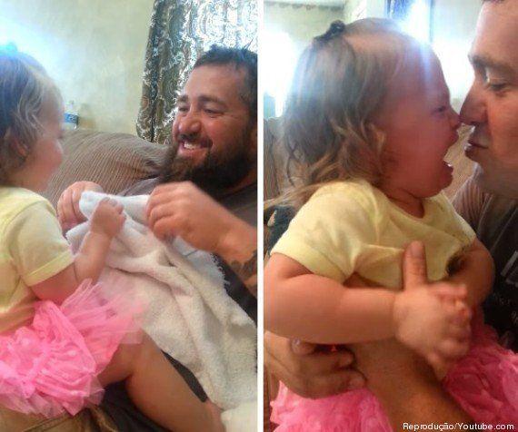 Garotinha não reconhece pai após ele tirar a barba e o resultado é de 'cortar o coração'