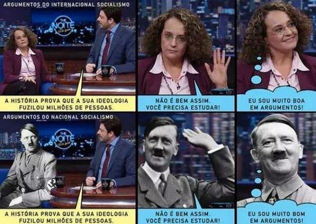 Humorista Danilo Gentili compara a candidata à presidência Luciana Genro com Hitler em seu