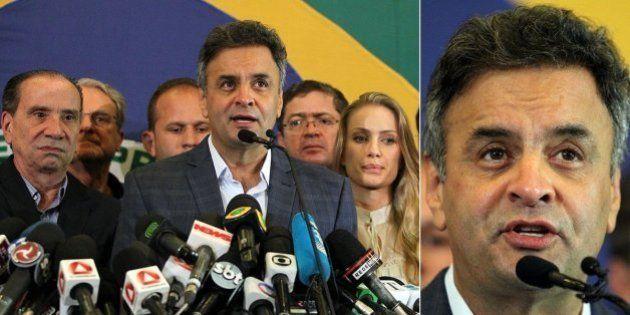 Em discurso reconhecendo derrota, Aécio Neves ressalta que prioridade de Dilma Rousseff deve ser unir...
