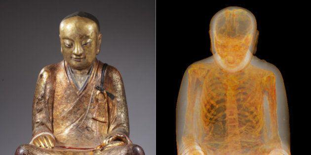 Cientistas descobrem esqueleto dentro de estátua de Buda