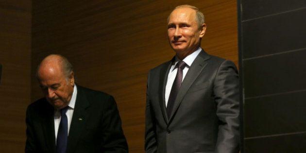 RIO DE JANEIRO, BRAZIL - JULY 13: FIFA President Joseph S.Blatter attends with Russian President Vladimir...