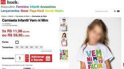 'Vem ni mim que to facim' vira estampa de camiseta infantil da grife de Luciano