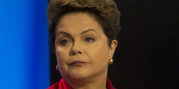 Presidential candidate of the Brazilian Workers' Party, current Brazilian President Dilma Rousseff, takes...
