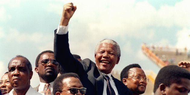 MMABATHO, SOUTH AFRICA: South African National Congress (ANC) President Nelson Mandela gives 15 March...
