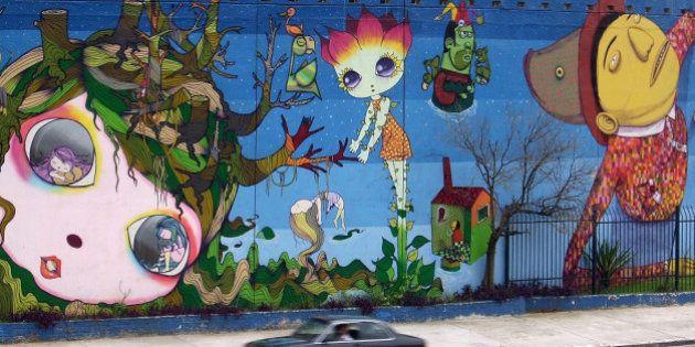 Collective graffiti by Gemeos, Nina, Nunca and
