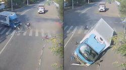 ASSISTA: Ciclista russo escapa por pouco de acidente