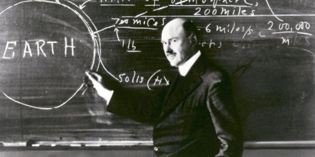 Dr. Robert H. Goddard at a blackboard at Clark University in Worcester, Massachusetts, in 1924. Goddard...