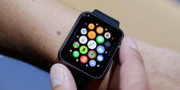 The new Apple Watch is shown during a new product release on Tuesday, Sept. 9, 2014, in Cupertino, Calif....