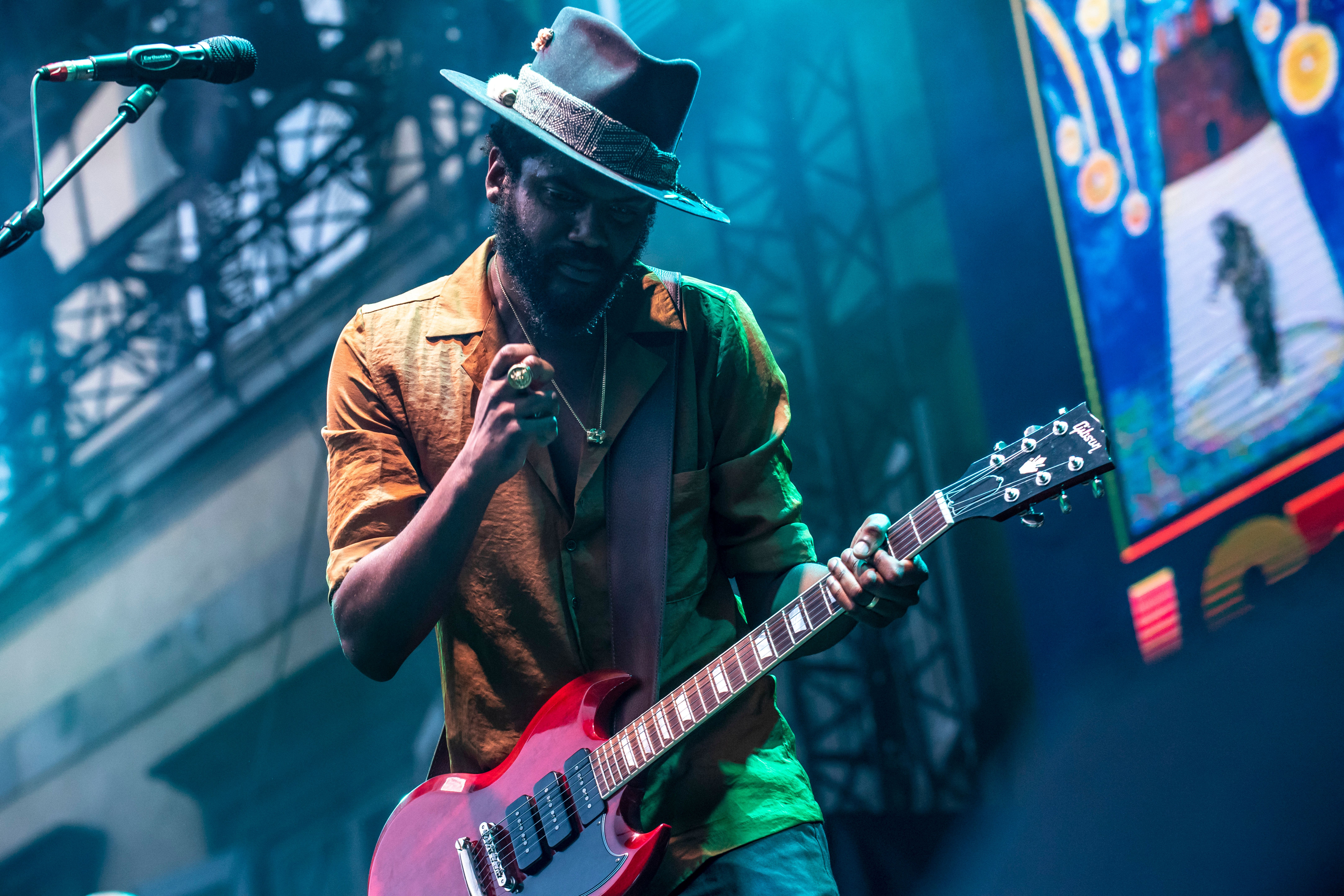 LUCCA, ITALY - JULY 18:  Gary Clark Jr. performs as the opening act for Lenny Kravitz  during the Lucca Summer Festival at Piazza Napoleone on July 18, 2018 in Lucca, Italy.  (Photo by Francesco Prandoni/Redferns)