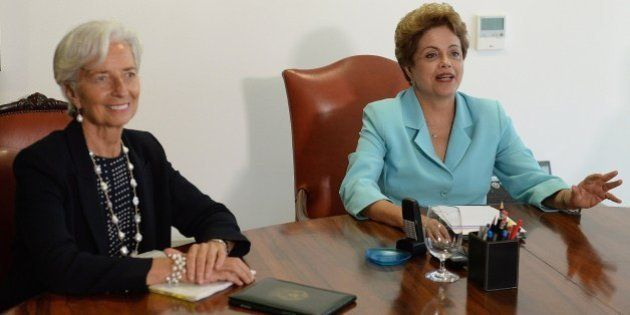 Brazilian President Dilma Rousseff (R) meets with International Monetary Fund Managing Director Christine...