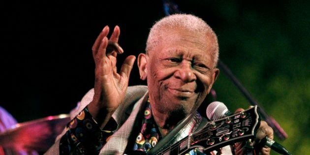 FILE-In this Aug. 22, 2012 photograph, the then 86-year-old B.B. King thrills a crowd of several hundred...