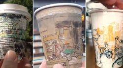 Artistas transformam copos de café em verdadeiras obras de