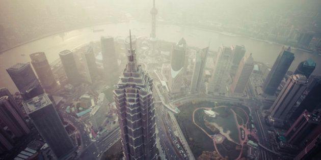 Air pollution at sunset on Shanghai,