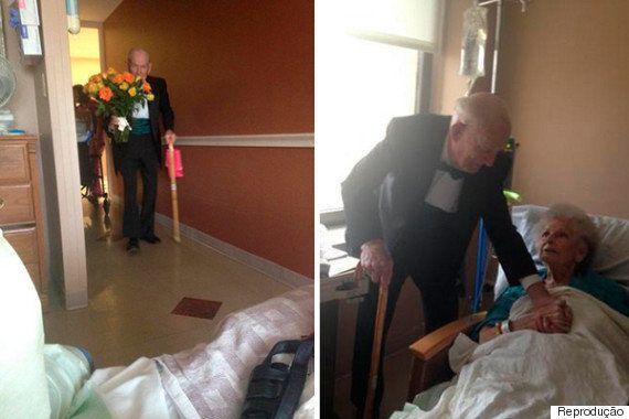 Marido surpreende esposa internada em hospital no aniversário de 57 anos do