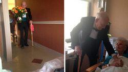 Ele fez uma visita surpresa à esposa no 57º aniversário de casamento
