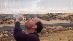 Veja o que acontece quando você bebe água em um dia de ventania na
