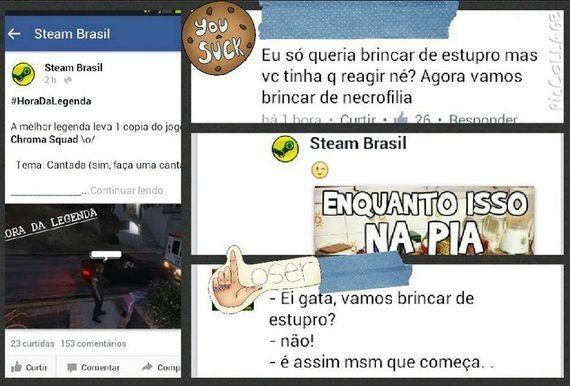 Fanpage em homenagem ao Steam no Brasil faz brincadeira com estupro na