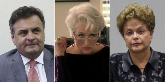 Para Aécio, a senhora idosa, como a presidente definiu a corrupção, veste Prada e usa uma estrela vermelha...