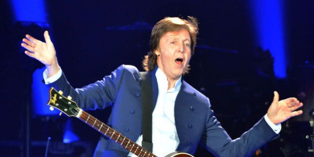 LONDON, ENGLAND - MAY 23: (STRICTLY EDITORIAL USE ONLY) Sir Paul McCartney performs live on stage at...