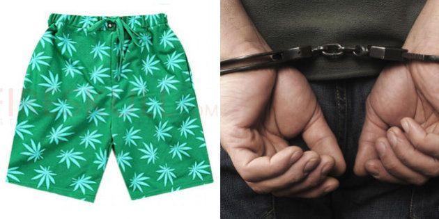 Rapaz é preso por usar bermuda com desenhos da folha da maconha no interior de São