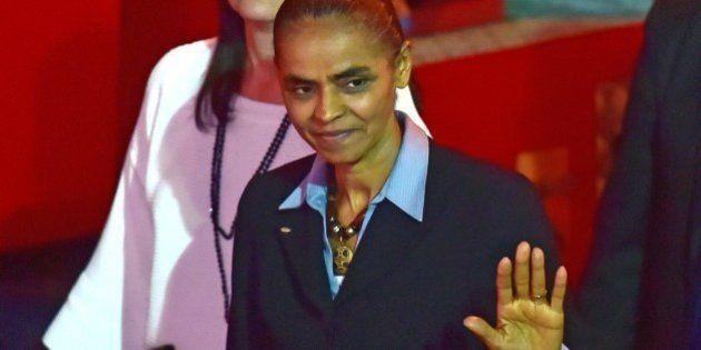Late Brazilian socialist presidential candidate Eduardo Campos' running mate, Marina Silva, waves as...