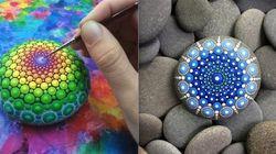 Artista transforma pedras em mandalas coloridas e