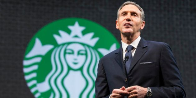 SEATTLE, WA - MARCH 18: Starbucks Chairman and CEO Howard Schultz speaks during Starbucks annual shareholders...