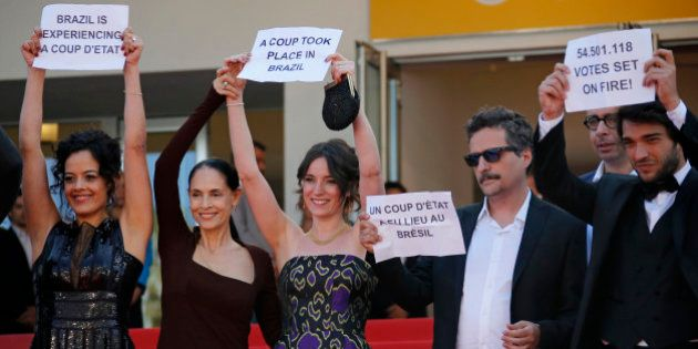 Director Kleber Mendonca Filho (2ndR) and cast members Maeve Jinkings (L), Sonia Braga (2ndL), Carla...