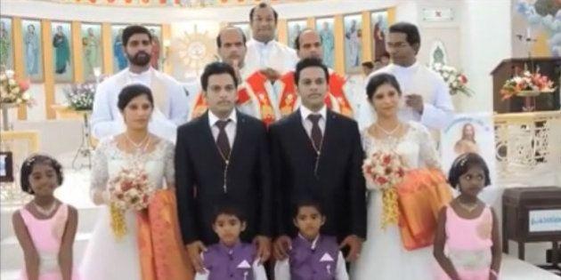 Gêmeos indianos se casam com gêmeas na presença de dois padres gêmeos e duas damas de honra