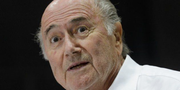 Outgoing FIFA president Sepp Blatter answers to a press conference during the 'Sepp Blatter Tournament'...