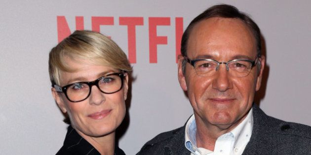BEVERLY HILLS, CA - APRIL 27: Actors Robin Wright (L) and Kevin Spacey attend Netflix's 'House of Cards'...