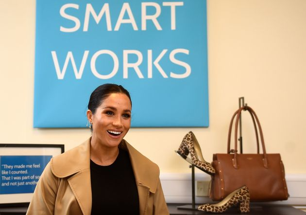 Meghan, the Duchess of Sussex, smiles during her visit at Smart Works charity in West London on Jan.