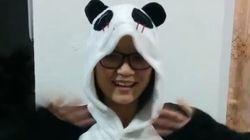 FOFINHA! Jiang se fantasia de panda para agradecer fãs do