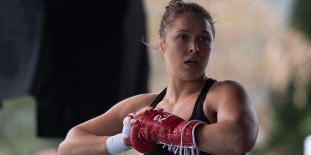 MELBOURNE, AUSTRALIA - NOVEMBER 12: UFC women's bantamweight champion Ronda Rousey of the United States...