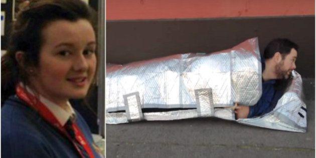 Menina de 15 anos cria sacos de dormir impermeáveis para moradores de