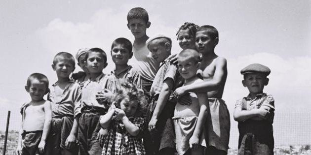 A group of orphans, survivors of the Holocaust, at the reception camp in Atlit (14/07/1944).קבוצת...