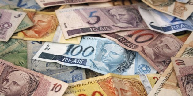 Brazilian money background. Bills called Reais