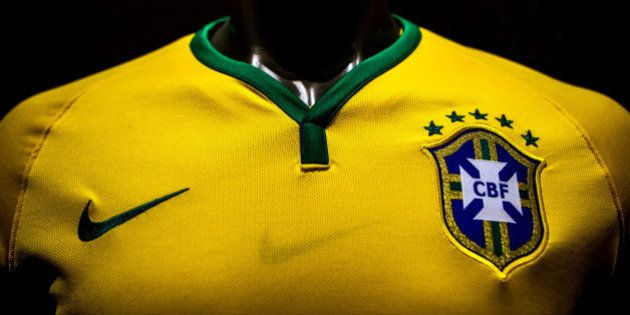 RIO DE JANEIRO, BRAZIL - NOVEMBER 24: Brazil's football team jersey for the 2014 FIFA World Cup is unveiled...