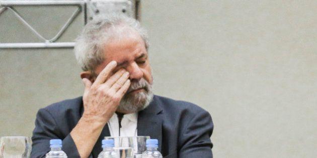 SAO PAULO, BRAZIL - APRIL 25: Former President of Brazil Luiz In��cio Lula da Silva gestures during...