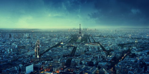 Paris skyline at sunset,