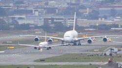 ASSISTA: Maior avião comercial do mundo, Airbus A380, da Emirates, aterrissa no