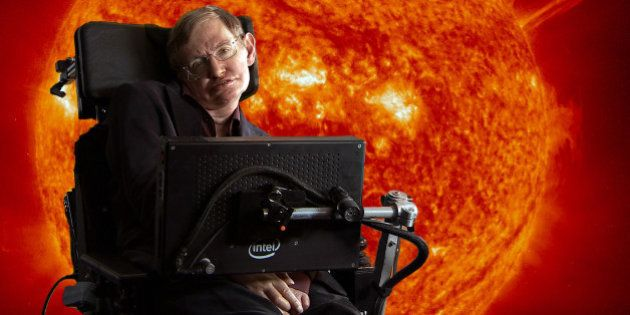Stephen Hawking in front of sun with coronal mass